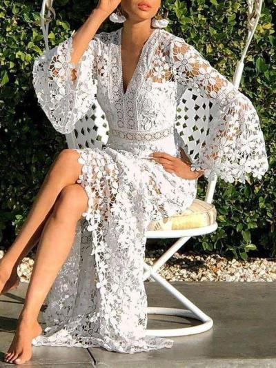 Fashion Sexy Lace Hollow out V neck Long sleeve Maxi Dresses
