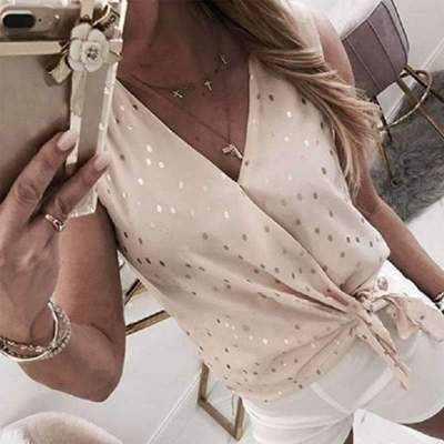 Fashion V neck Point print Sleeveless Blouses