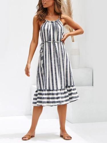 Striped patchwork belt neck women's vacation dresses