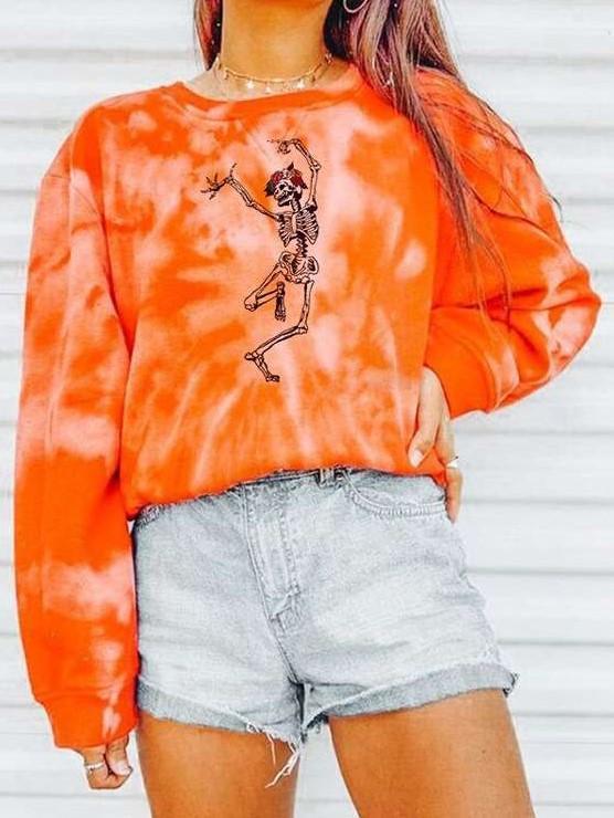 Fashion Casual Loose Print Round neck Long sleeve Sweatshirts