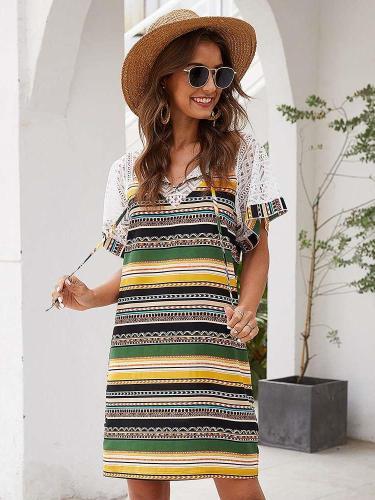 Fashion Print V neck Short sleeve Lacing Shift Dresses
