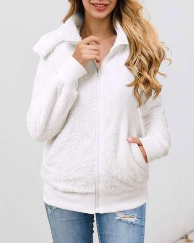 Fashion Zipper Long sleeve Plush Hoodies Coats