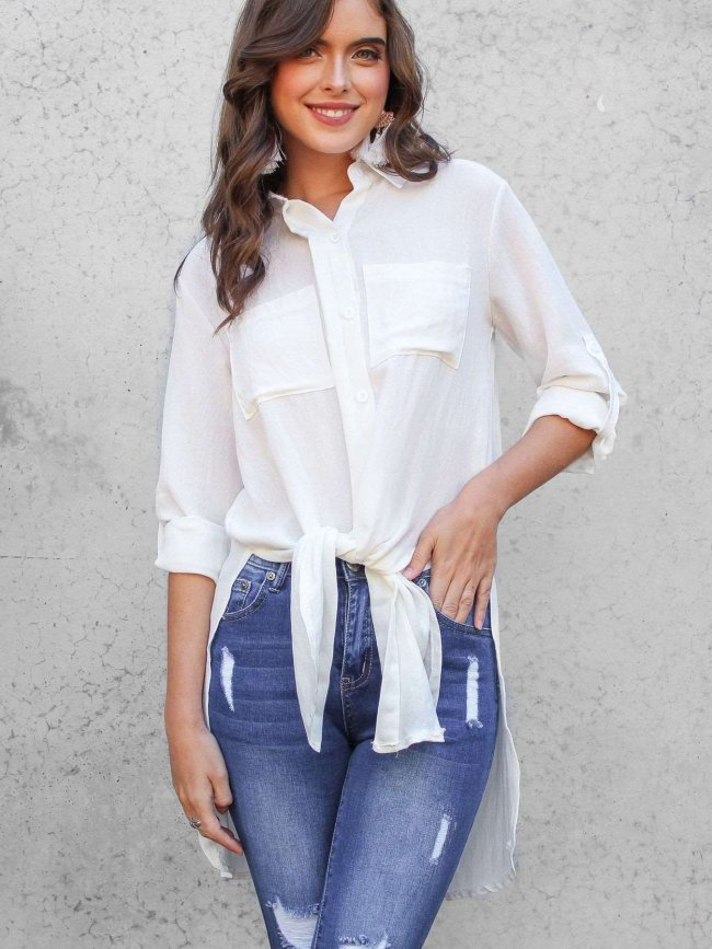 Casual Pure Vent Long sleeve Blouses