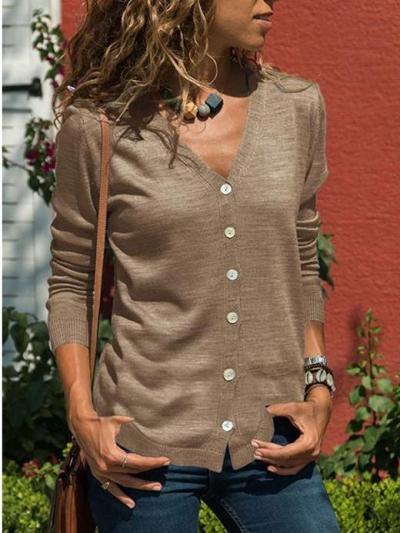 Fashion Long sleeve V neck Cardigan
