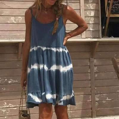 Casual Loose Stripe Gored Vest Sleeveless Falbala Shift Dresses
