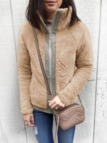 Autumn Downy Comfy Chin Collar Woman Coats