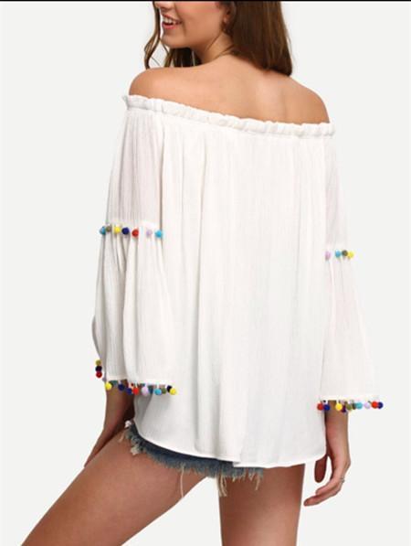 Off shoulder Flare sleeve Loose T-Shirts