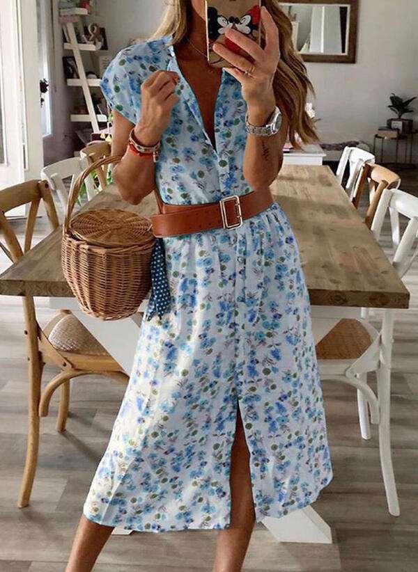 Fashion Print Round neck Short sleeve Belt Maxi Dresses