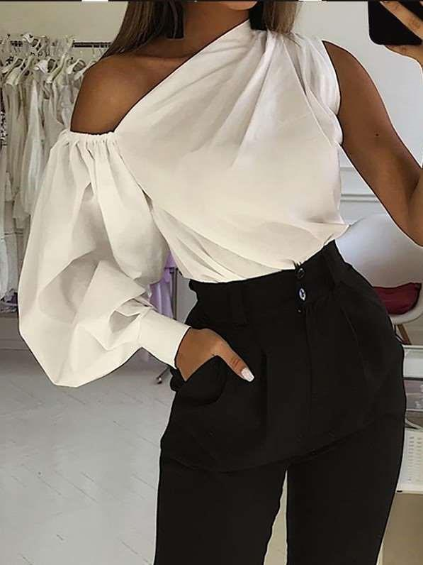 Fashion Sexy Pure One shoulder Unilateral sleeve Blouses