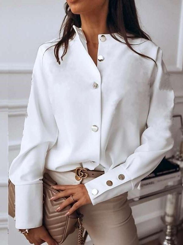 Fashion Pure Stand collar Long sleeve Fastener Blouses