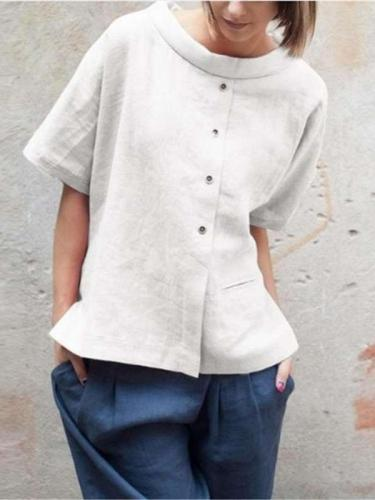 Casual Loose Cotton  Fastener Short sleeve Blouses