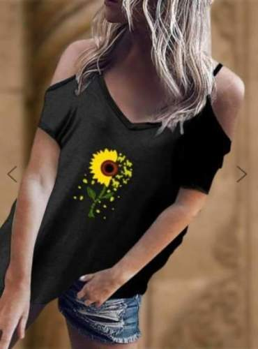 Fashion Print V neck Vest Off shoulder Short sleeve T-Shirts