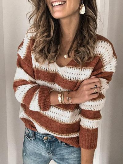 V neck two colors women fashion long sleeve sweaters