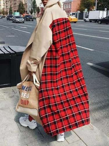 Fashion Gored Plaid Long sleeve Coats