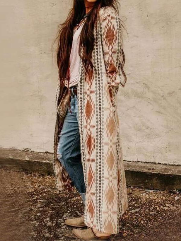 Fashion Print V neck Long sleeve Knit Coats