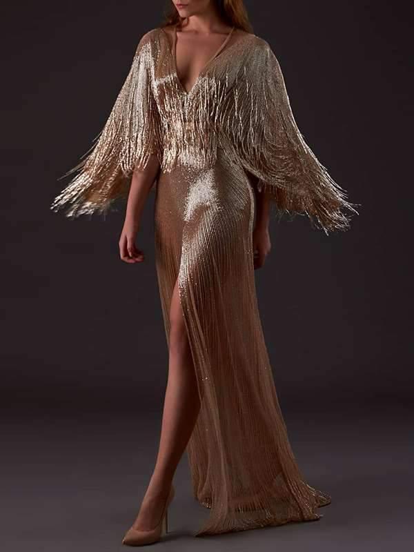 Tippet Tassels V neck  Fishtail Evening Dresses