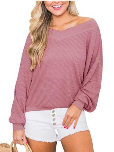 Off shoulder V neck Long sleeve T-Shirts