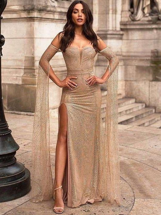 Sexy Off shoulder Vent Evening Dresses