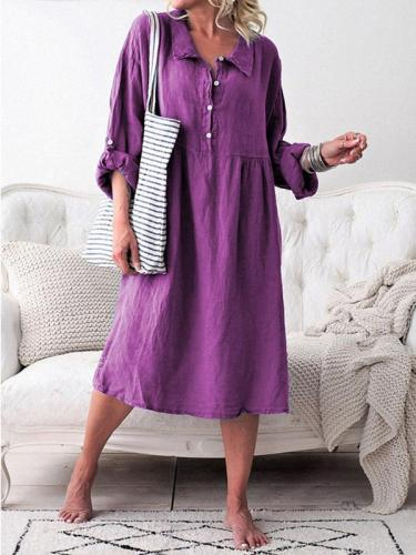 Casual Turn down collar Large size hemp buttons Maxi Dresses