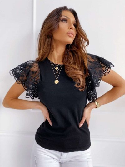 Sexy Round neck Lace Short sleeve T-Shirts