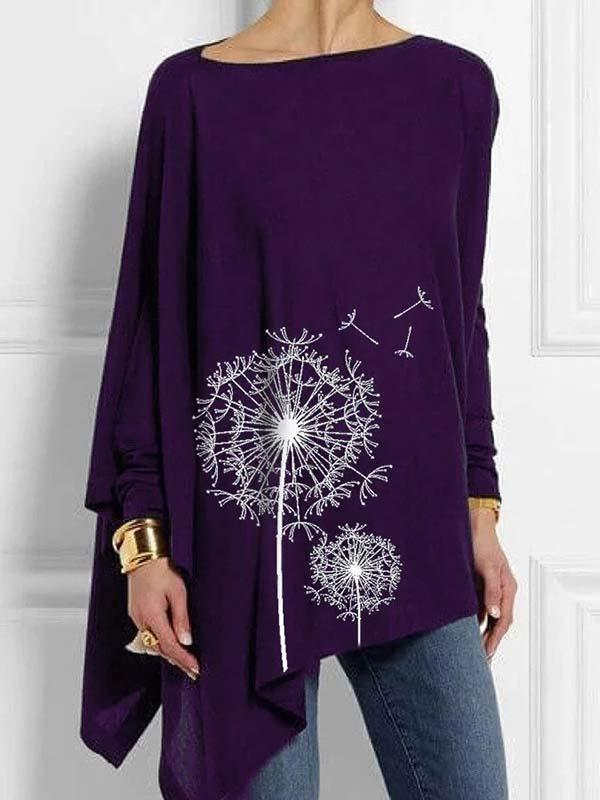 Floral Printed round neck long sleeve irregular hem women T-shirts