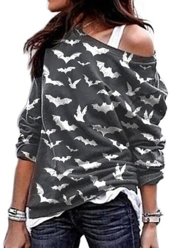 Halloween Printed one off shoulder long-sleeve T-shirts