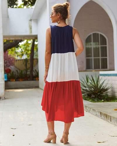 Fashion Gored Sleeveless Round neck Maxi Dresses
