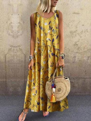 Sleeveless Fashion Printed Maxi Dresses