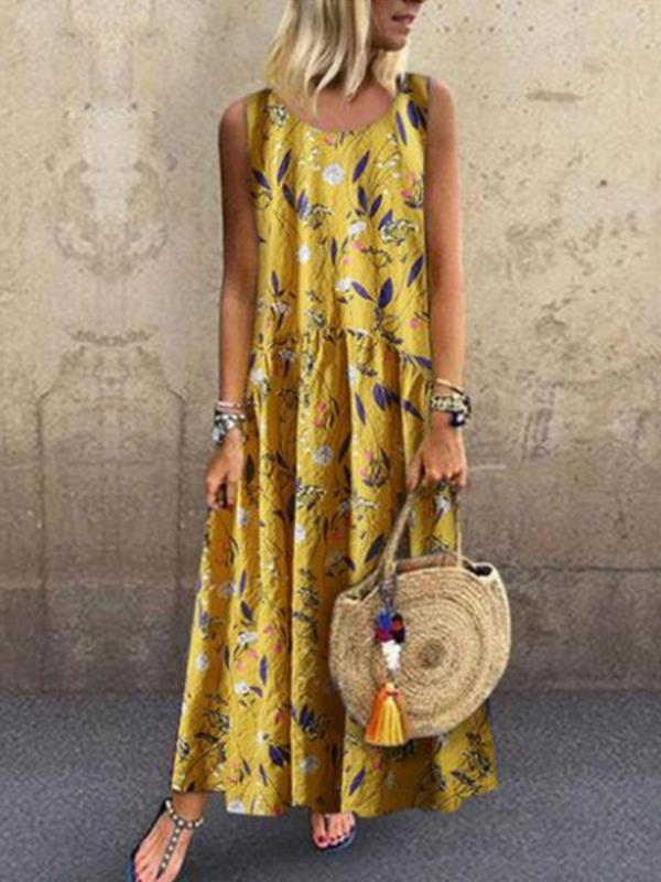 Sleeveless Fashion Printed Maxi Dresses