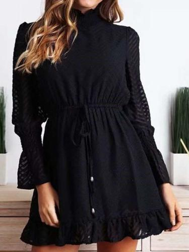 Fashion High collar Lacing Long sleeve Skater Dresses