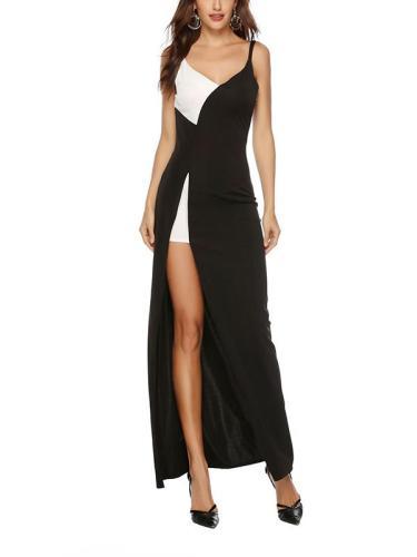 Sexy black and white v-neck slit straps evening dresses