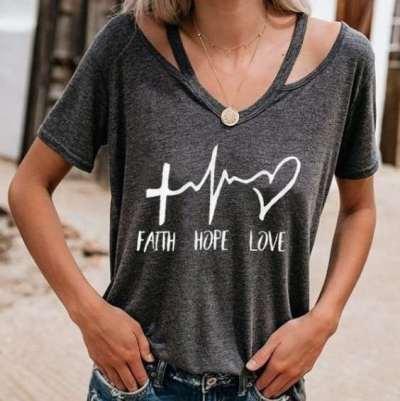 Fashion Print Halter V neck Short sleeve T-Shirts
