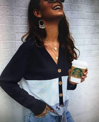 Fashion Knit  Fastener Gored V neck Cardigan