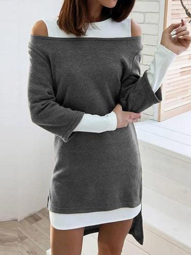 Women long sleeve round neck off shoulder color matcing shift dresses