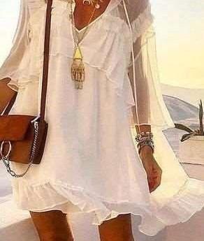 Casual Oure V neck Long sleeve Grenadine Falbala Shift Dresses