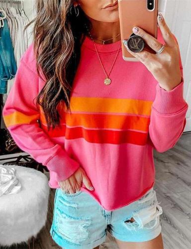 Fashion Stripe Round neck Long sleeve Sweatshirts