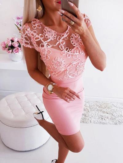 Sexy round neck lace backless women bodycon dresses