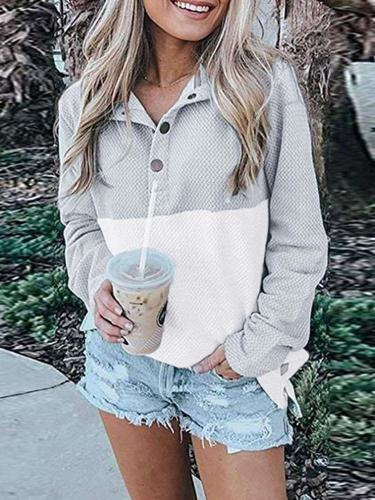 Fashion Casual Gored V neck Long sleeve Sweatshirts