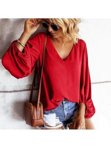 Women chic plain v neck long lantern sleeve blouses