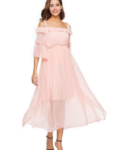 Off shoulder Skater Vent Chiffon Maxi Dresses