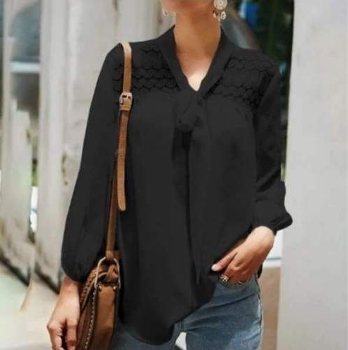 Fashion Pure Lace Lacing V neck Long sleeve Blouses