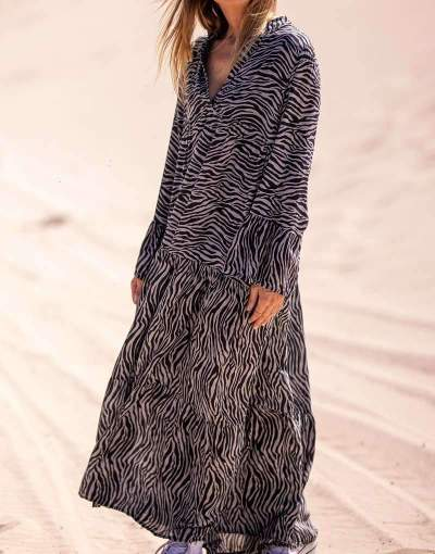Casual Loose Stripe V neck Long sleeve Gored Maxi Dresses
