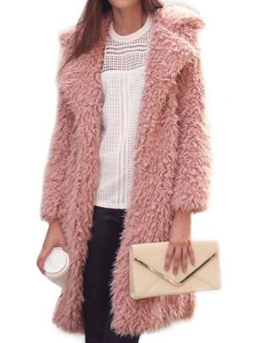 Fashion Lapel  Hairy Long sleeve Coats