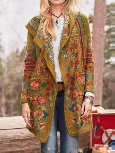 Fashion Casual Print Long sleeve Coats