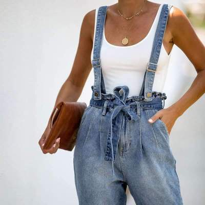 Fashion Stringy selvedge Lacing Suspender trousers