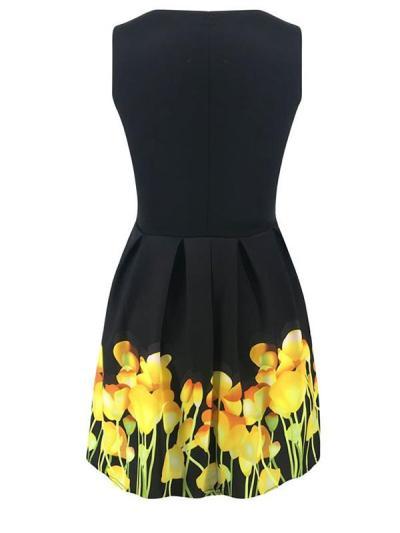 Sexy Elegant  round neck sleeveless print dress high waist skater dresses