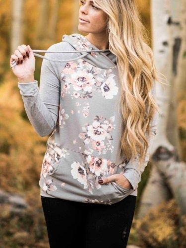 Woman Daily Grey Blossom Baseball Floral Hoodies