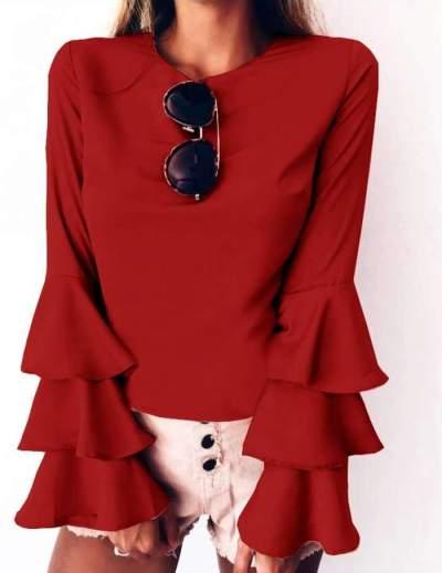 Fashion Pure Round neck  Mandarin sleeve T-Shirts