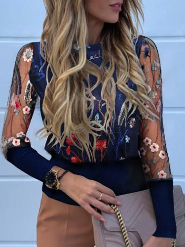 Women printed printed floral fashion long sleeve blouses