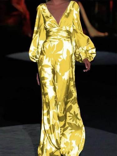 Fashionable printed v-neck lantern sleeve maxi dresses